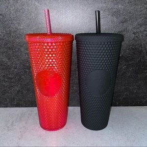 Starbucks matte black hot pink tumblers studded